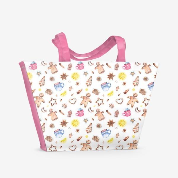 Пляжная сумка «Имбирное настроение (мелкий узор)»
