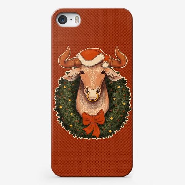 Чехол iPhone «Новогодний бык в венке»