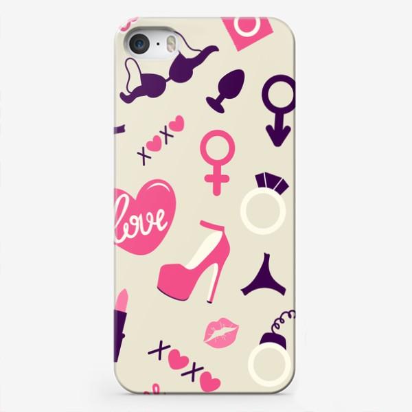 Чехол iPhone «+18. Взрослые игрушки. День Святого Валентина.»