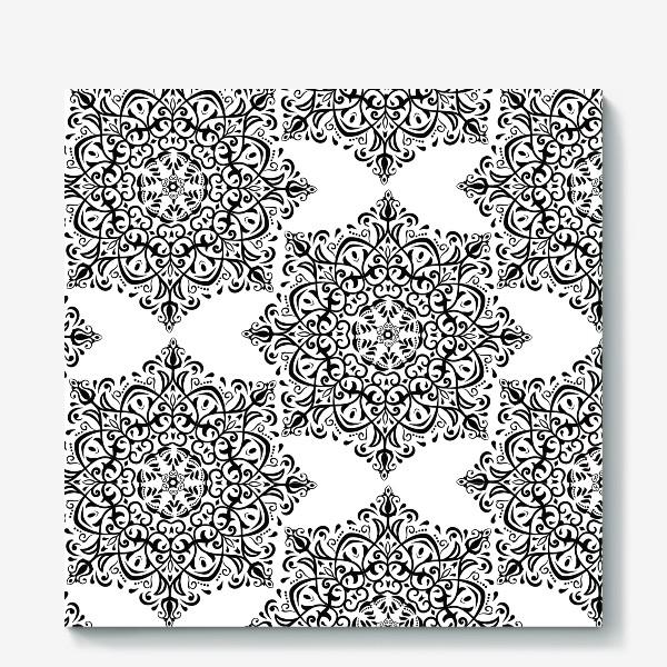 Холст «Паттерн из черно-белого орнамента»