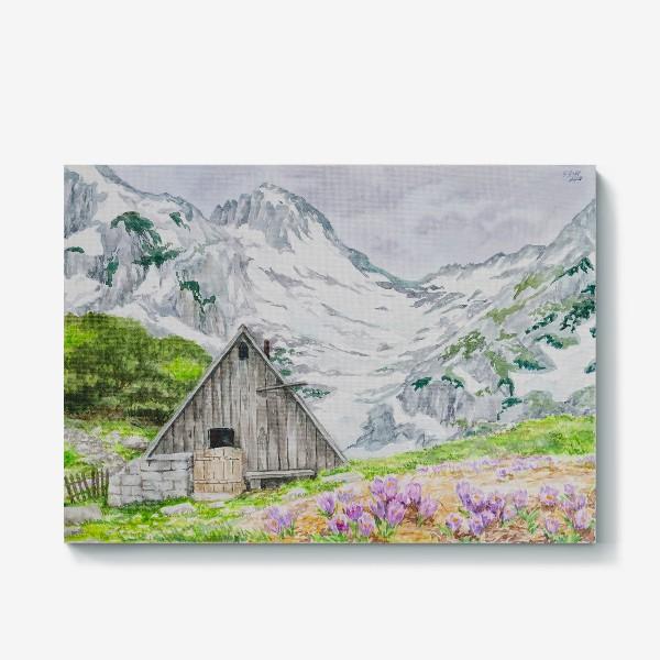 Холст «Домик в горах»