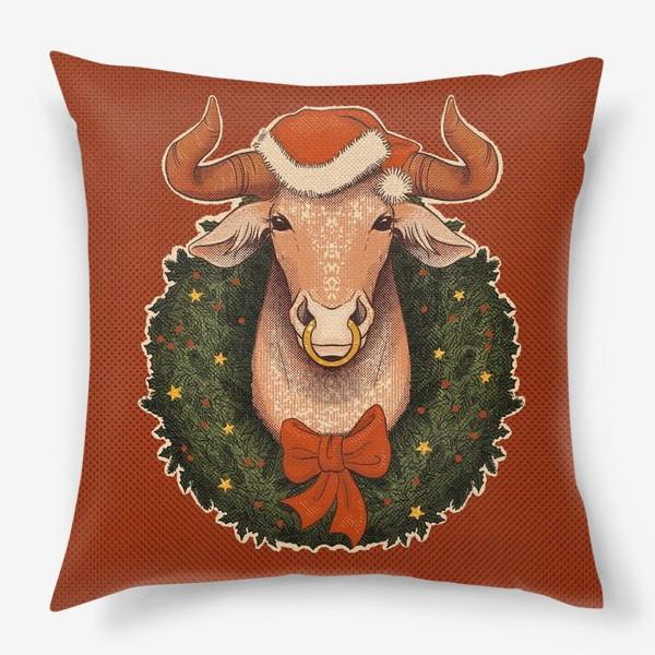 Подушка «Новогодний бык в венке»