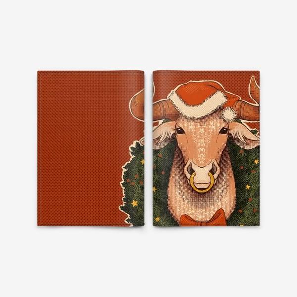Обложка для паспорта «Новогодний бык в венке»