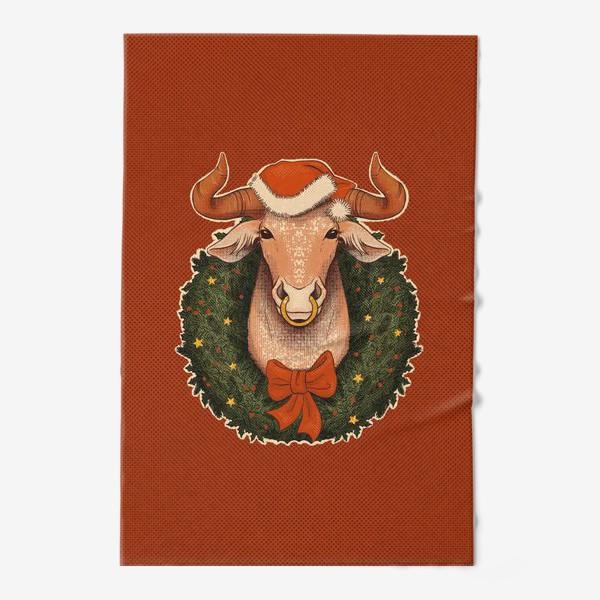 Полотенце «Новогодний бык в венке»