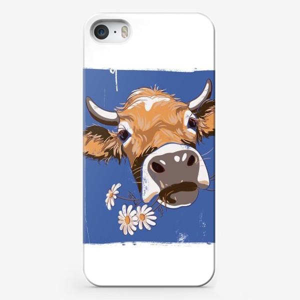 Чехол iPhone «корова с ромашками возьмите в коллекцию!»