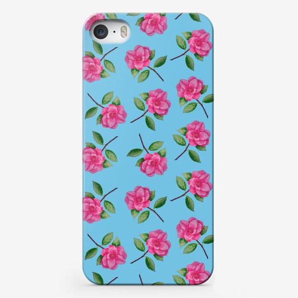 Чехол iPhone «Камелии на голубом фоне»