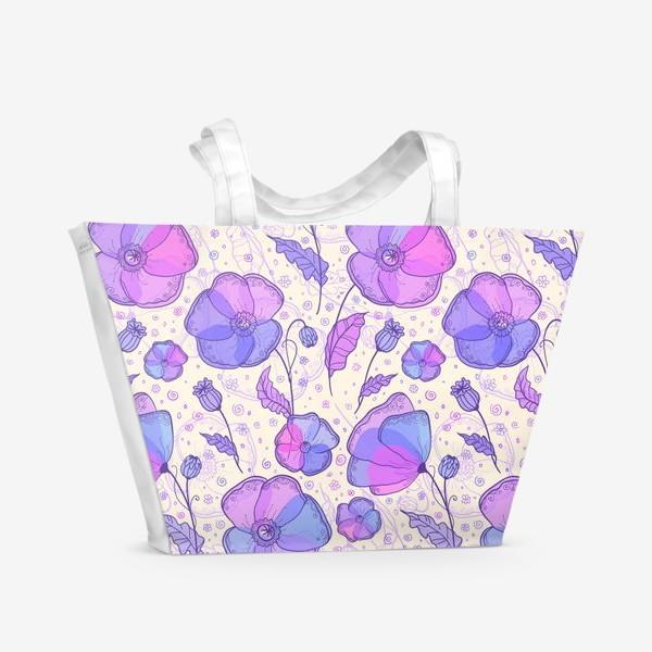 Пляжная сумка «Сиреневые маки»