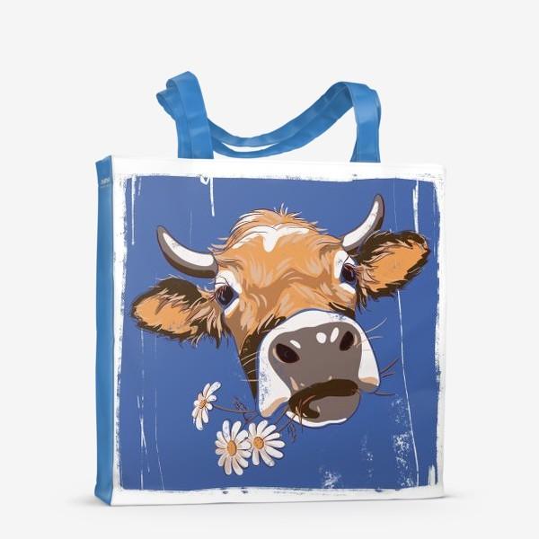 Сумка-шоппер «корова с ромашками возьмите в коллекцию!»