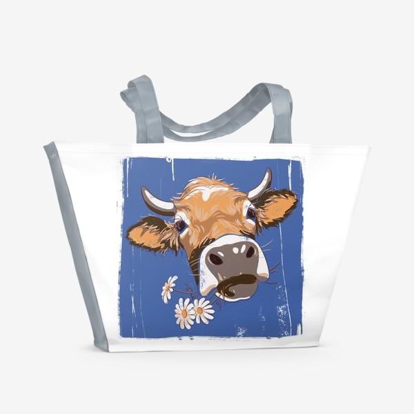 Пляжная сумка «корова с ромашками возьмите в коллекцию!»