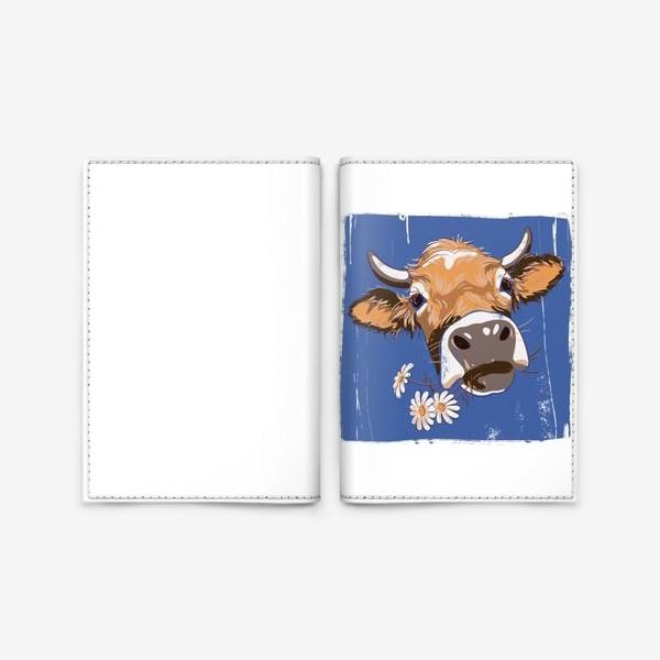 Обложка для паспорта «корова с ромашками возьмите в коллекцию!»