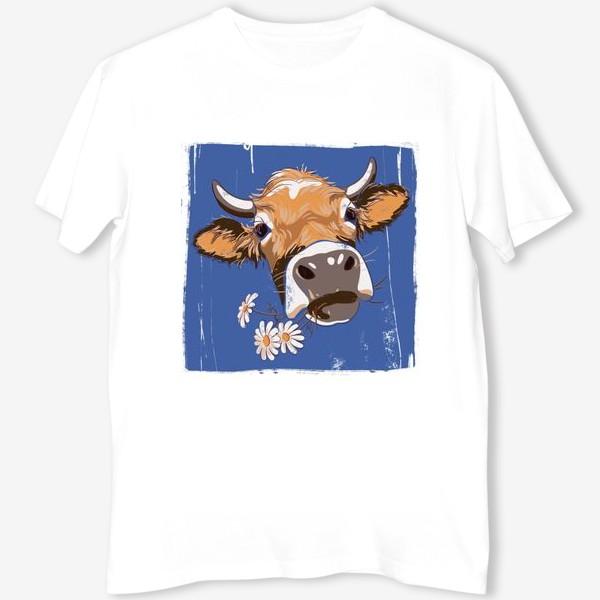 Футболка «корова с ромашками возьмите в коллекцию!»