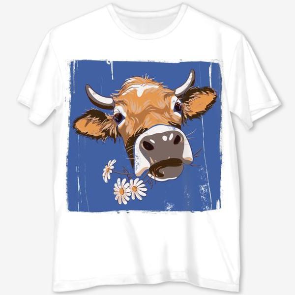 Футболка с полной запечаткой «корова с ромашками возьмите в коллекцию!»