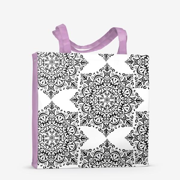 Сумка-шоппер «Паттерн из черно-белого орнамента»