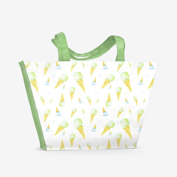 Пляжная сумка «Мороженое в вафельном рожке (мелкий паттерн)»