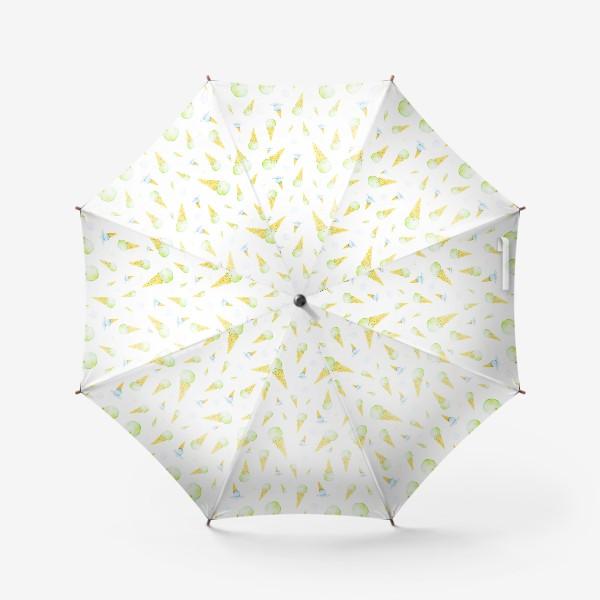 Зонт «Мороженое в вафельном рожке (мелкий паттерн)»