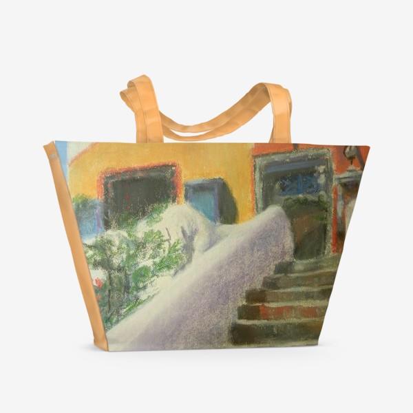 Пляжная сумка «Лестница на острове Санторини»