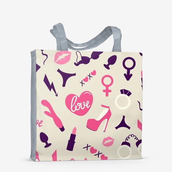Сумка-шоппер «+18. Взрослые игрушки. День Святого Валентина.»