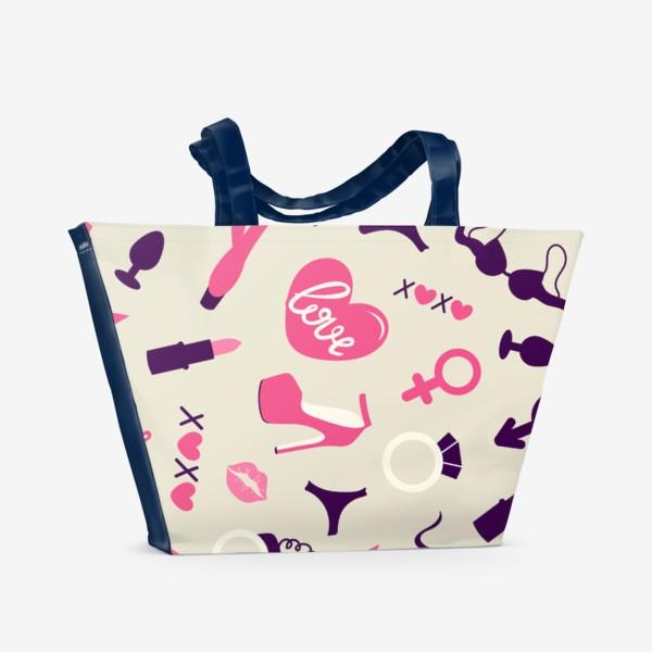 Пляжная сумка «+18. Взрослые игрушки. День Святого Валентина.»