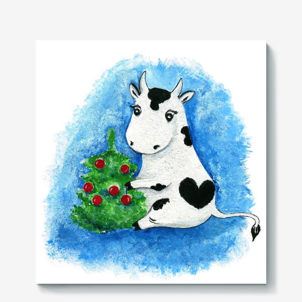Холст «Новогодняя коровка»