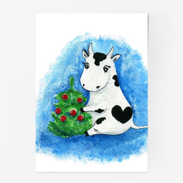 Постер «Новогодняя коровка»