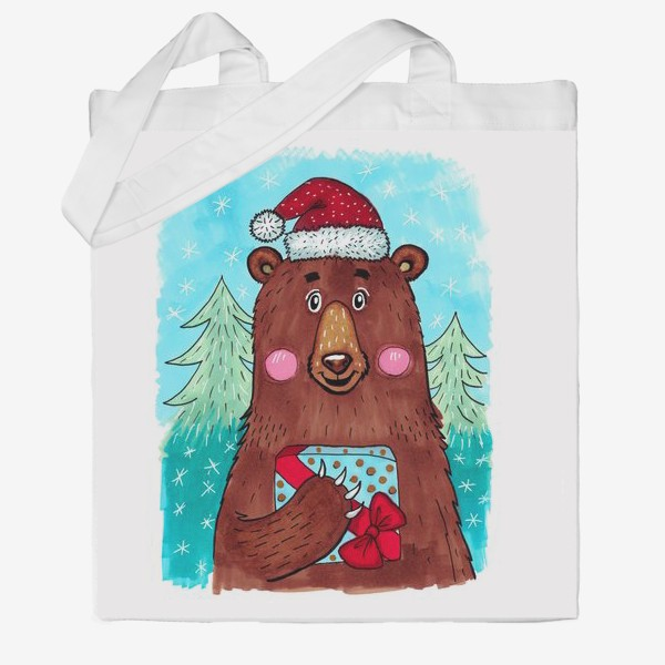 Сумка хб «Милый новогодний мишка с подарком»