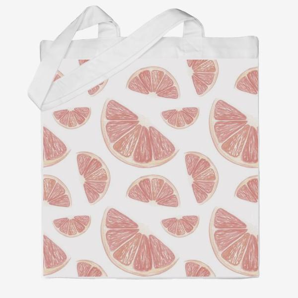 Сумка хб «Паттерн с грейпфрутами»
