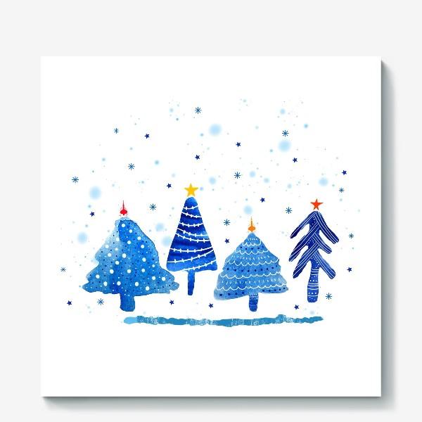 Холст «Зимние новогодние елки»