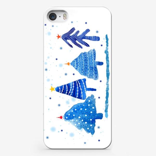 Чехол iPhone «Зимние новогодние елки»