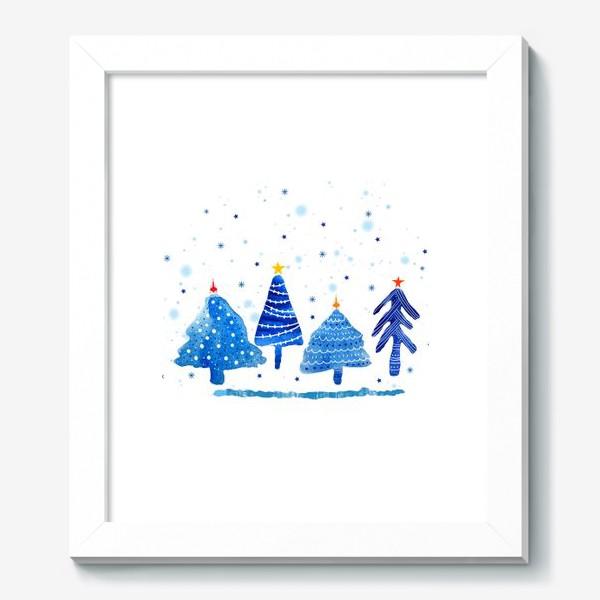 Картина «Зимние новогодние елки»