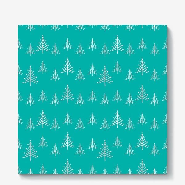 Холст «Новый год, минималистичные ёлки на голубом фоне»