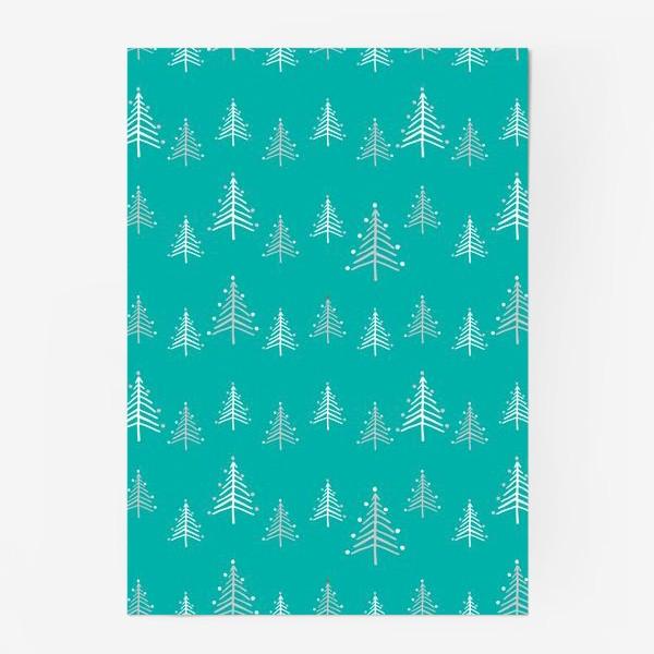 Постер «Новый год, минималистичные ёлки на голубом фоне»