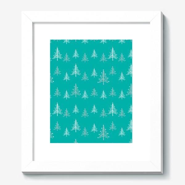 Картина «Новый год, минималистичные ёлки на голубом фоне»