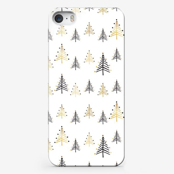 Чехол iPhone «Минималистичные золотые и черные ёлки на белом фоне, новогодний паттерн»