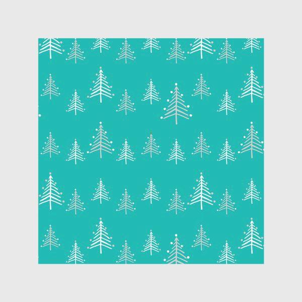 Скатерть «Новый год, минималистичные ёлки на голубом фоне»