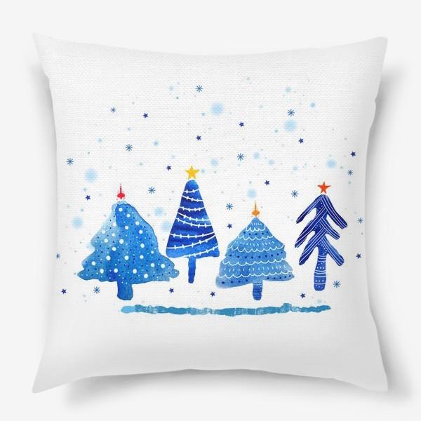 Подушка «Зимние новогодние елки»