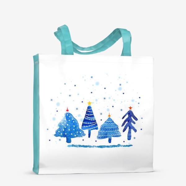 Сумка-шоппер «Зимние новогодние елки»