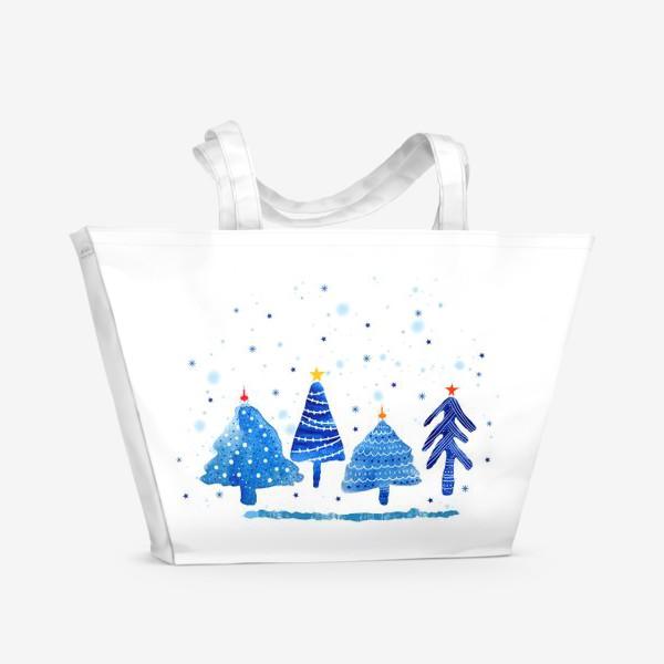 Пляжная сумка «Зимние новогодние елки»