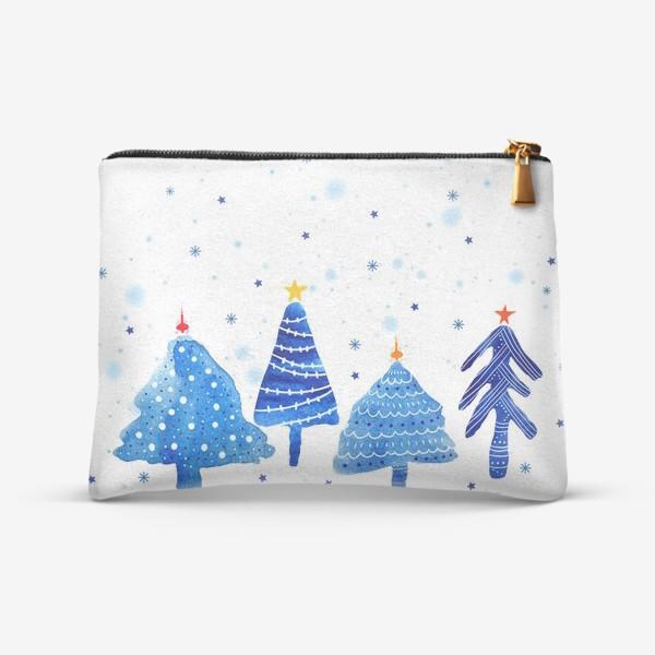 Косметичка «Зимние новогодние елки»