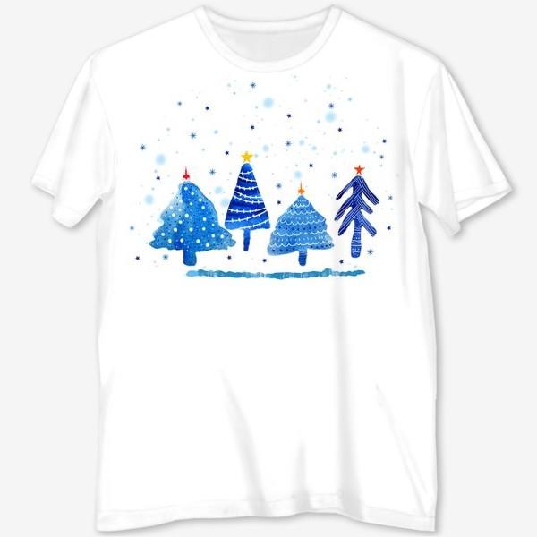 Футболка с полной запечаткой «Зимние новогодние елки»
