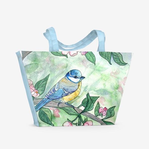 Пляжная сумка «Синица на яблоне»