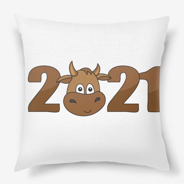 Подушка «2021 Принт с быком»