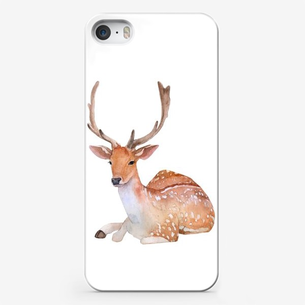 Чехол iPhone «Reindeer watercolor drawing isolated on white background.»
