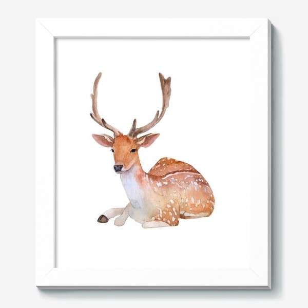 Картина «Reindeer watercolor drawing isolated on white background.»
