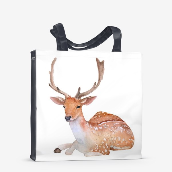 Сумка-шоппер «Reindeer watercolor drawing isolated on white background.»