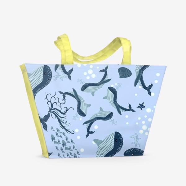 Пляжная сумка «Паттерн с китами»