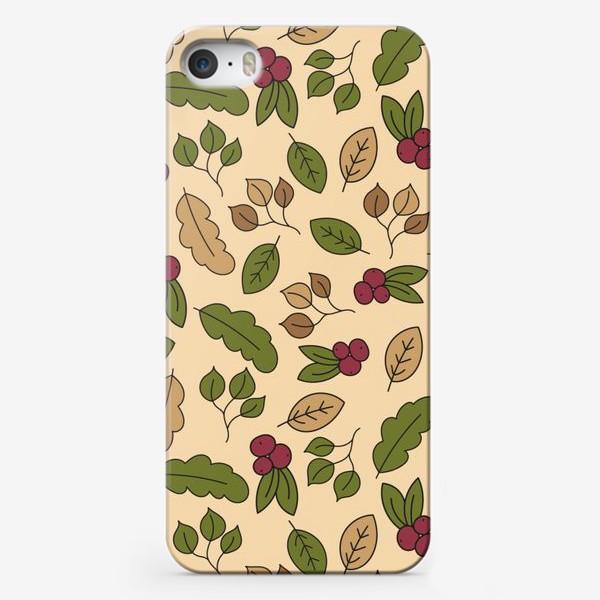 Чехол iPhone «Осенний паттерн - Рябина»