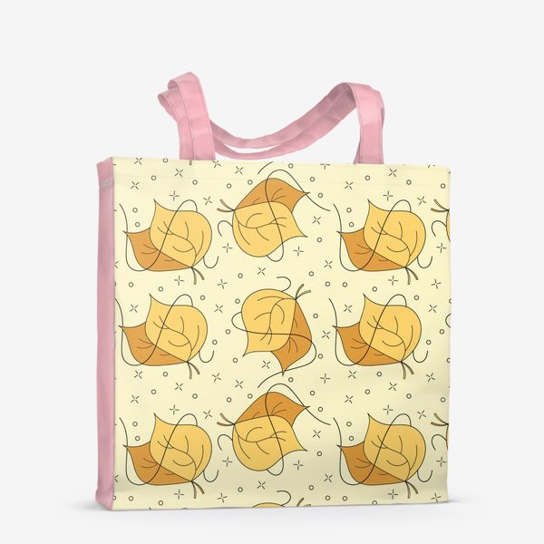 Сумка-шоппер «Осенние желтые листья - Дудл паттерн»