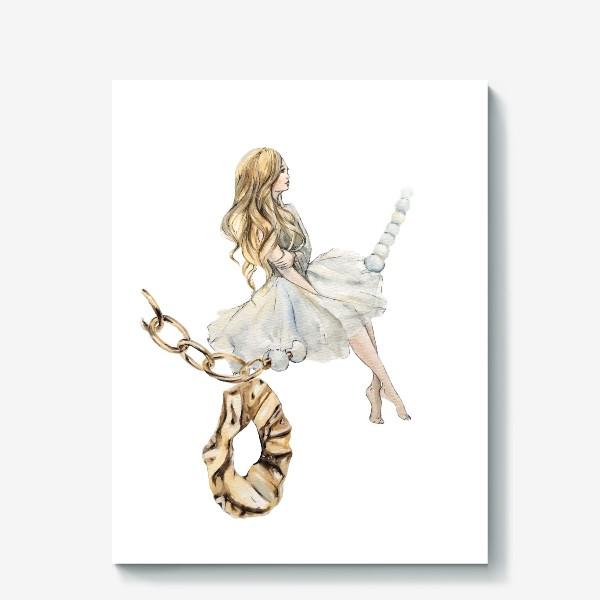 Холст «Fashion Воздушная Девушка украшения золото»