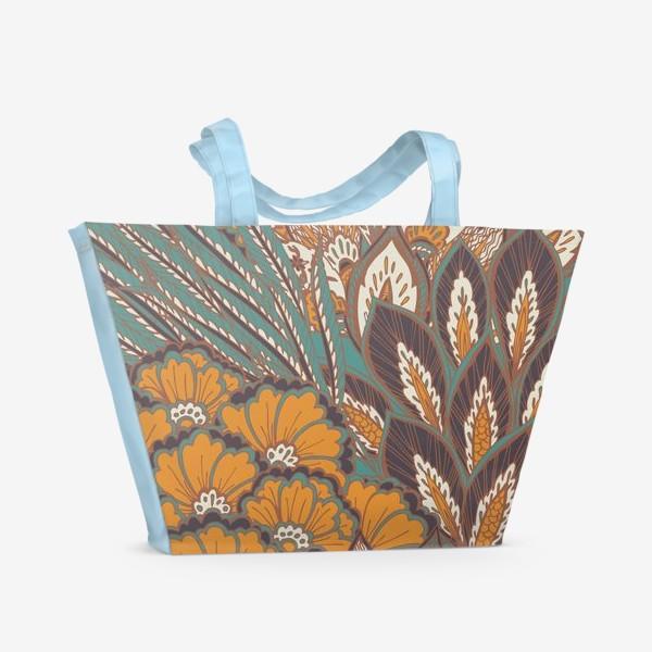 Пляжная сумка «Восточный растительный орнамент в осенней палитре»