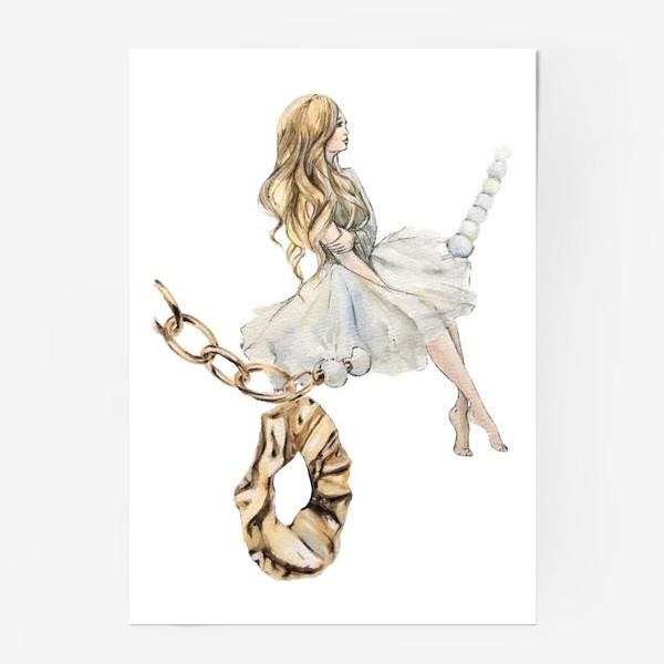 Постер «Fashion Воздушная Девушка украшения золото»